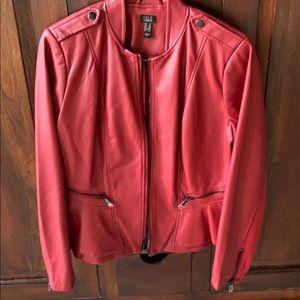 Italian red leather peplum jacket